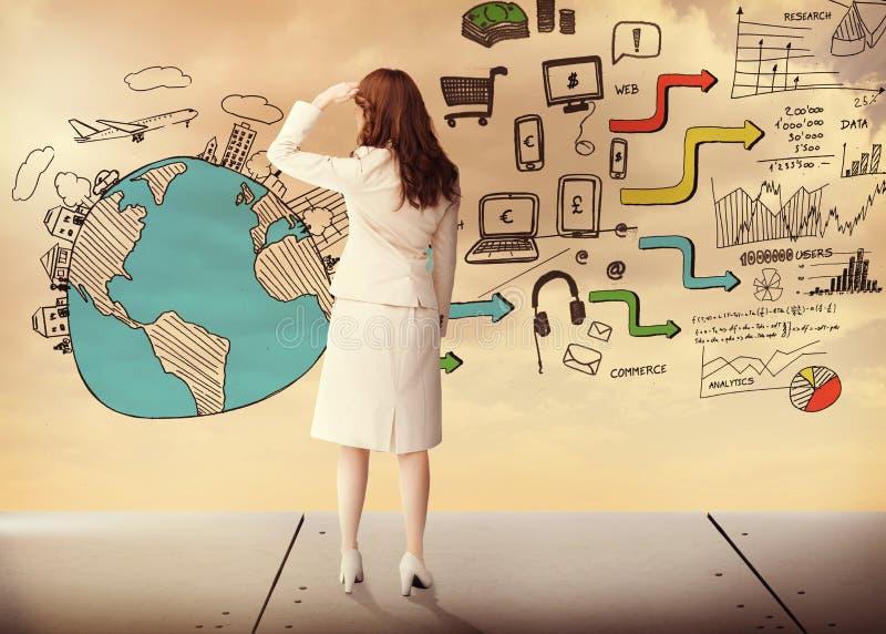 女实业家背面图的综合图象 免版税库存照片