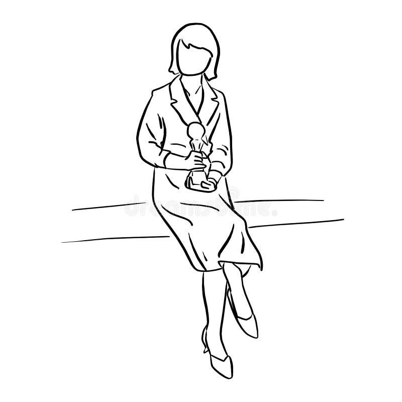 女实业家藏品战利品传染媒介例证剪影乱画h 向量例证