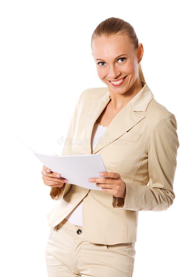 女实业家藏品纸张 免版税库存照片