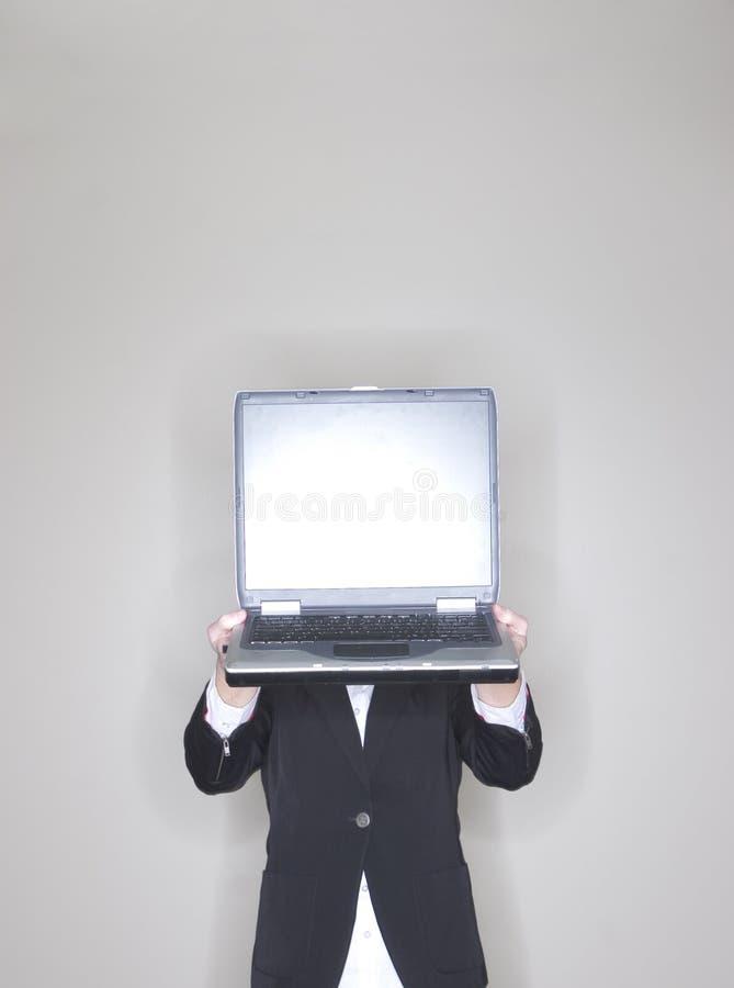 女实业家藏品膝上型计算机 免版税图库摄影
