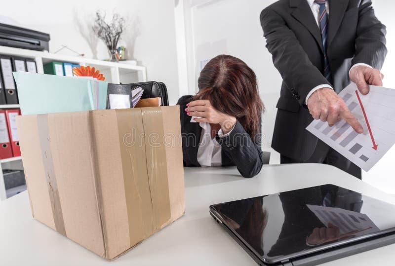 女实业家被解雇由于坏结果 免版税库存图片