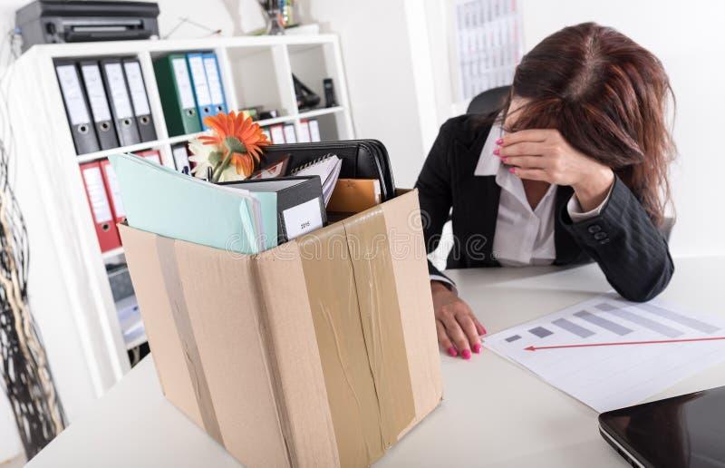 女实业家被解雇由于坏结果 免版税库存照片