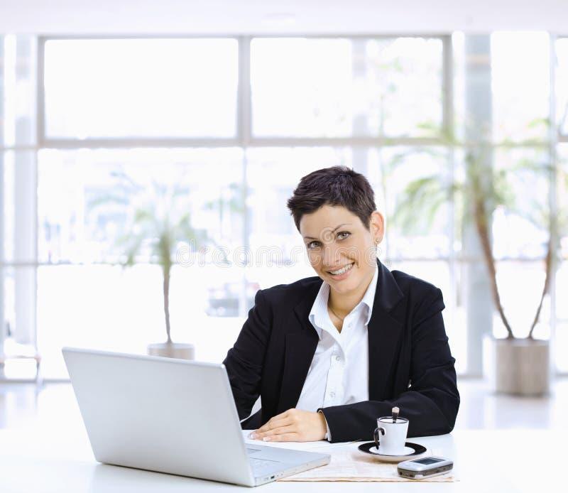 女实业家计算机使用 库存照片