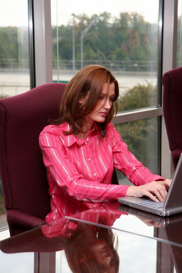 女实业家计算机 图库摄影