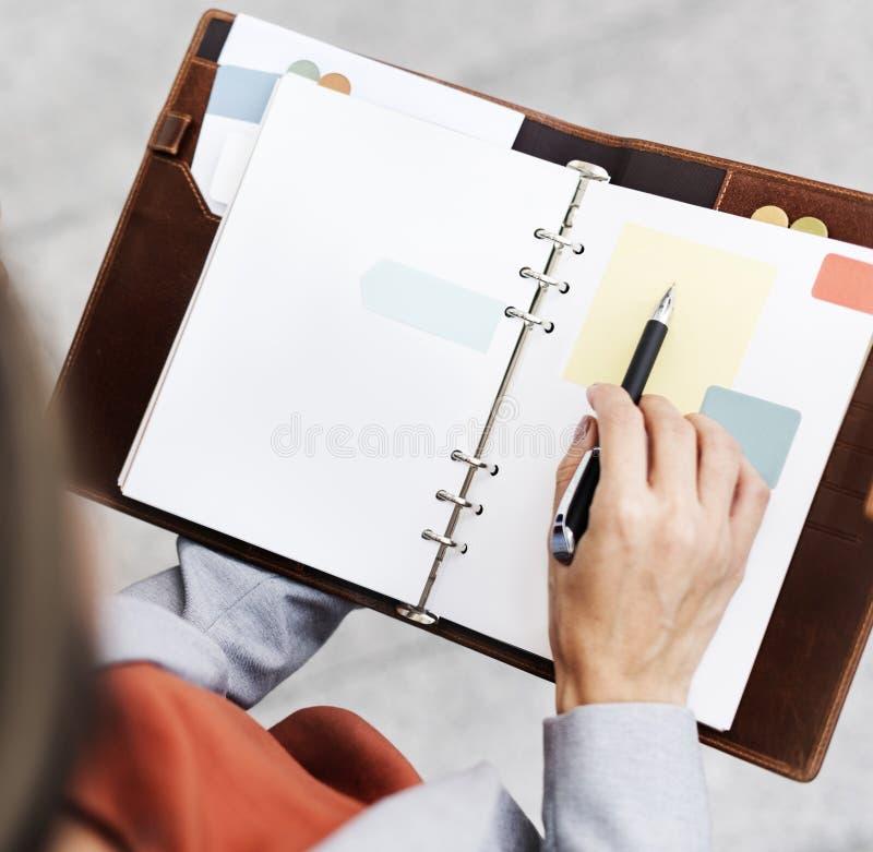 女实业家记录文字笔记本报告拷贝空间概念 免版税图库摄影