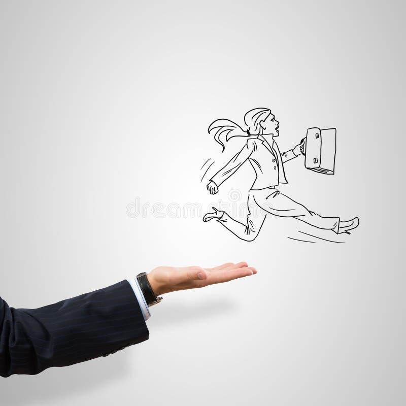 女实业家讽刺画棕榈的 免版税库存照片