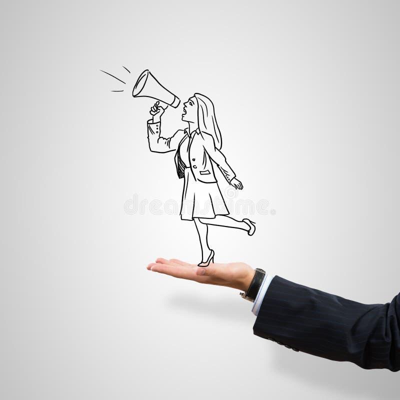 女实业家讽刺画棕榈的 免版税库存图片