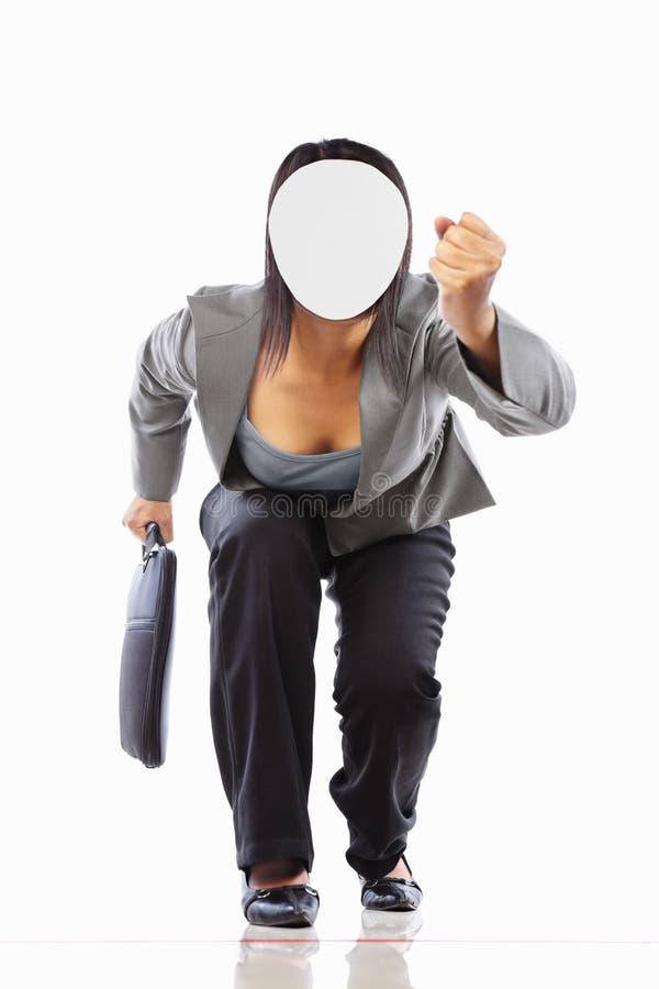 女实业家运行无法认出 库存图片