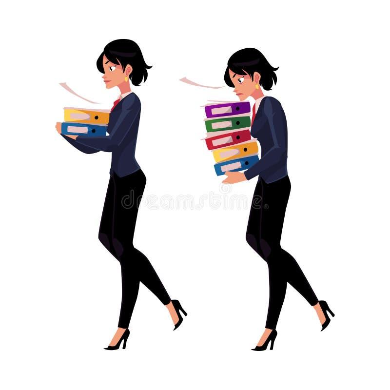 年轻女实业家运载的文件文件夹,正常和重的工作量概念 库存例证