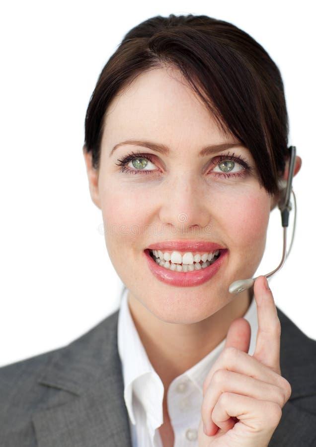 女实业家迷人的耳机 库存图片