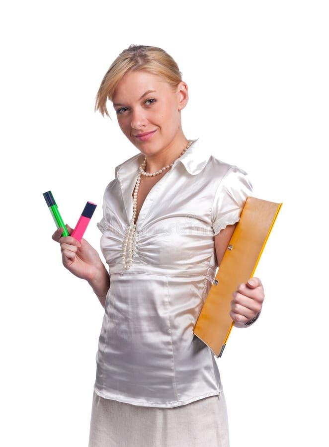 女实业家逗人喜爱的年轻人 免版税库存图片