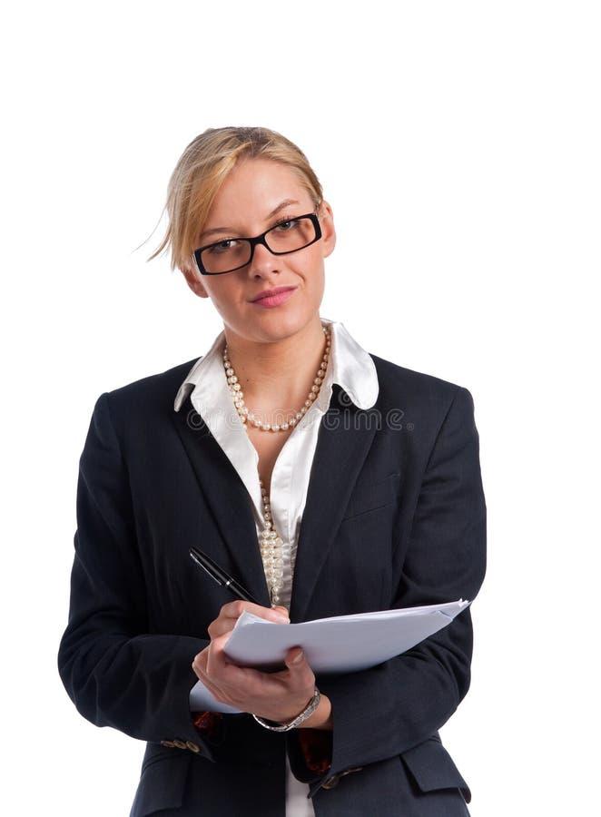 女实业家逗人喜爱的查出的年轻人 免版税库存照片