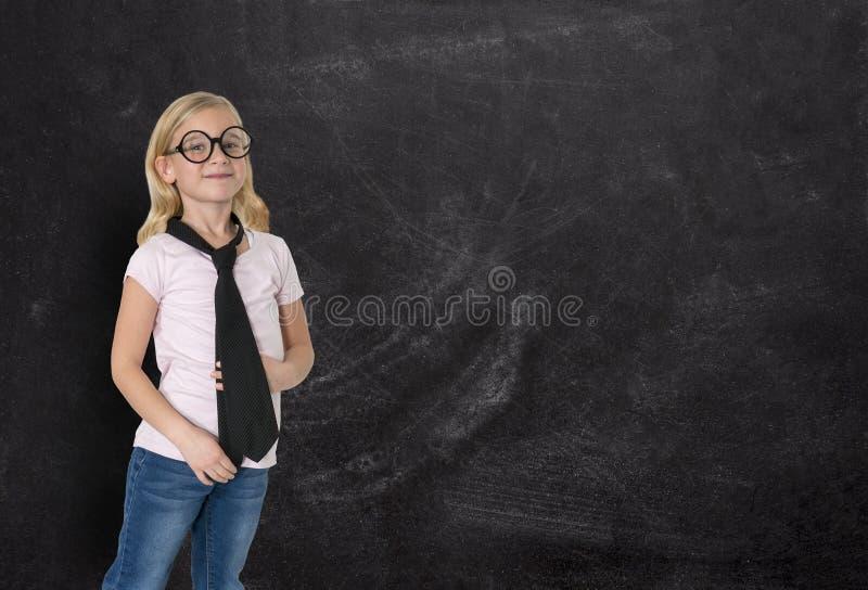女实业家,女孩,黑板,事务 图库摄影