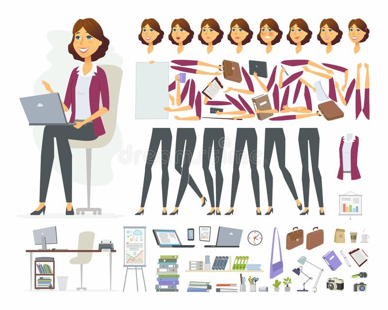 女实业家-传染媒介动画片人字符建设者 库存例证
