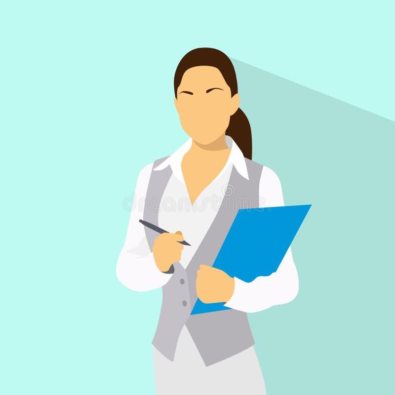 女实业家以文件剪贴板和笔穿戴 库存例证
