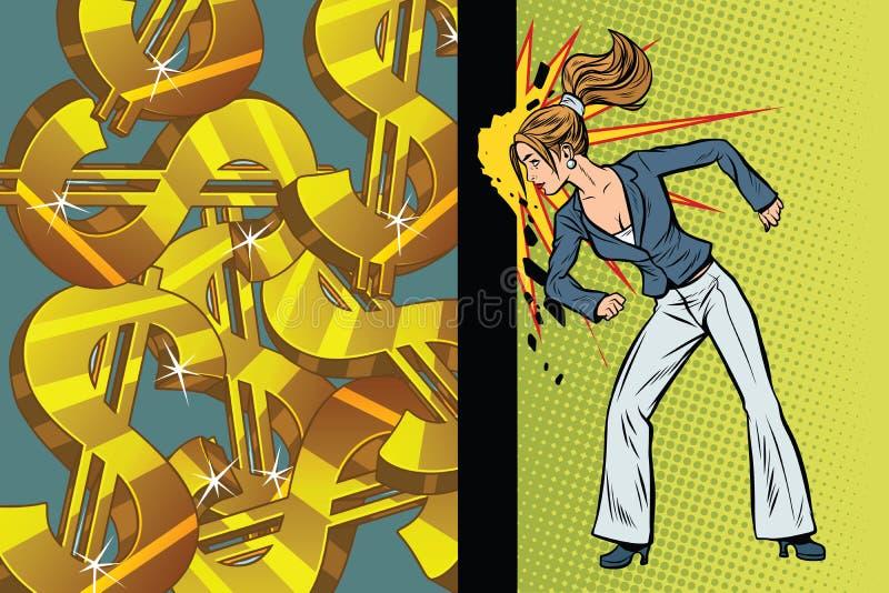 女实业家寻求变得富有,击中墙壁头 库存例证