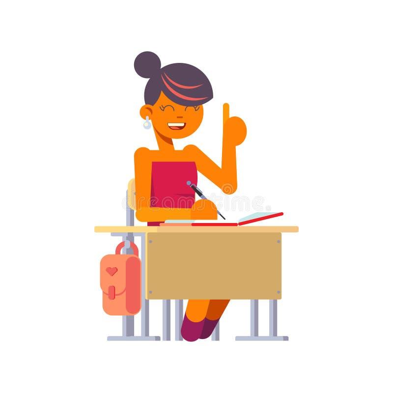 女小学生坐在学校书桌 一个平的设计的传染媒介例证 库存例证