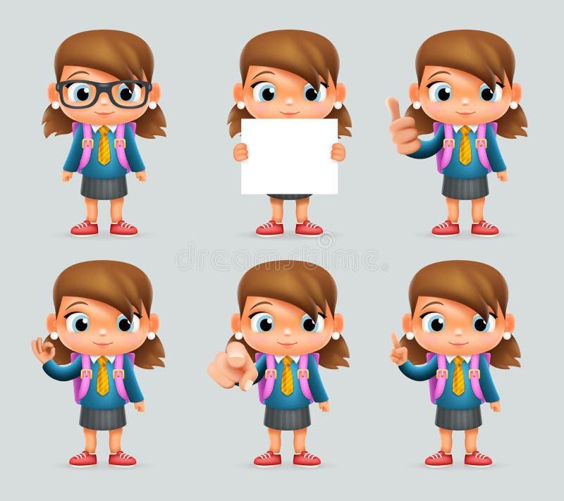 女小学生教育优秀学生天才学校背包聪明的学生聪明的女孩一致的衣服3d漫画人物 库存例证