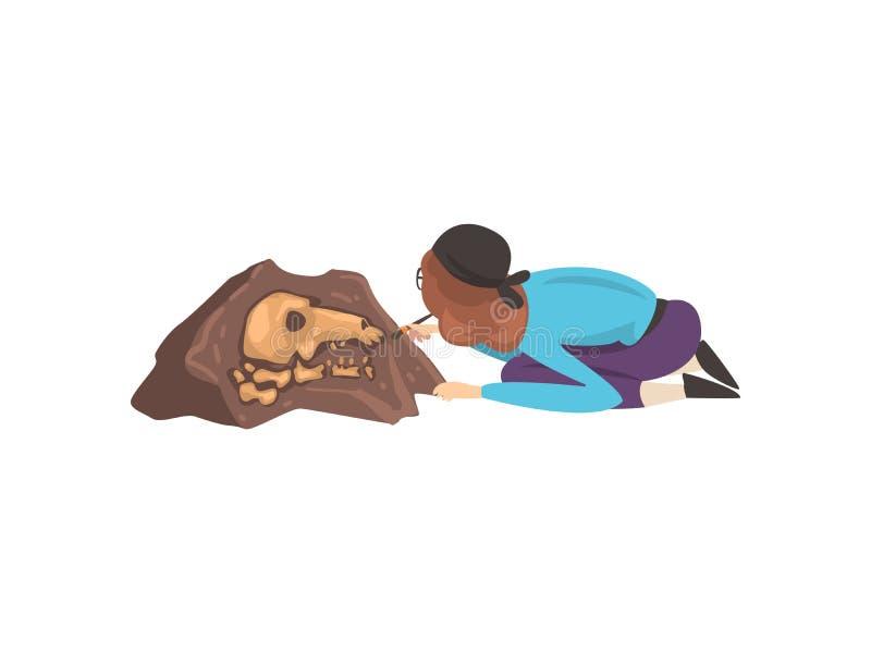 女性从骨骼的骨头的考古学家清扫的土使用刷子的,古生物学在挖掘的科学家工作 向量例证