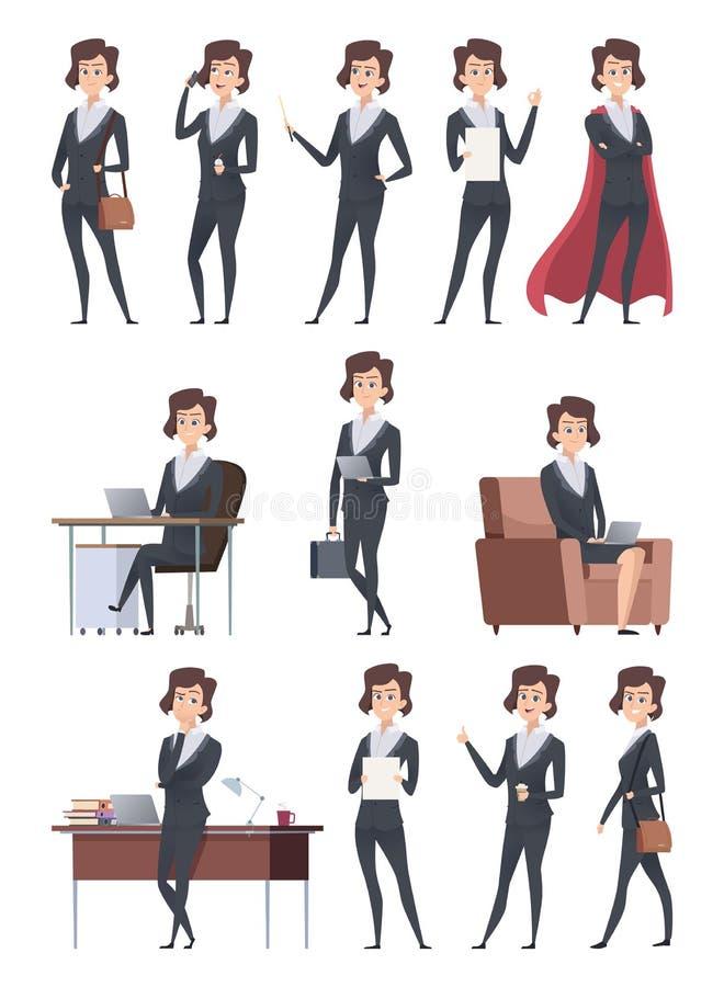 女性企业字符 公司办公室工作者做不同的与自已企业项目传染媒介一起使用的行动姿势 向量例证