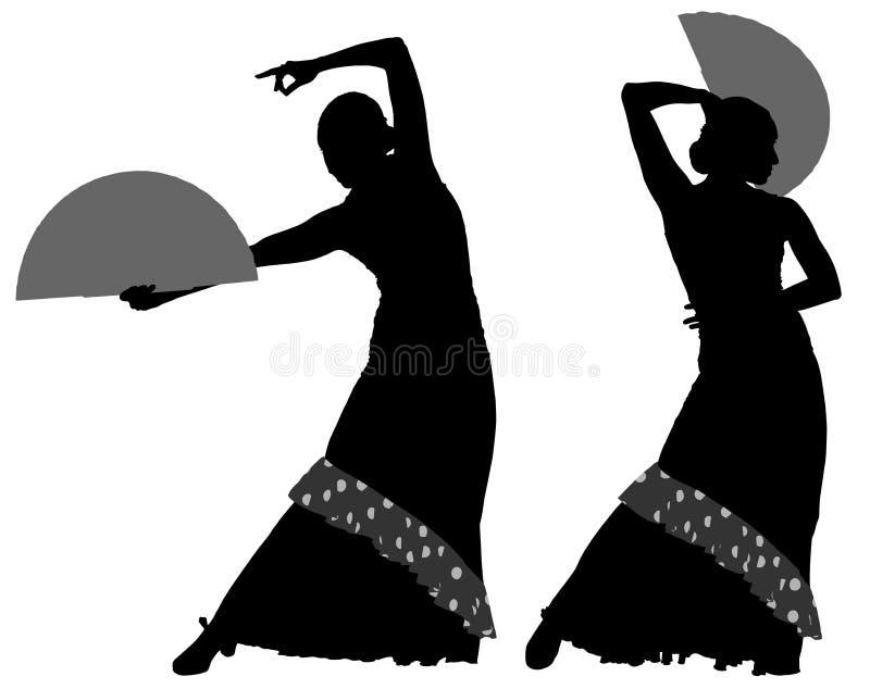女性佛拉明柯舞曲舞蹈家两个剪影  库存例证