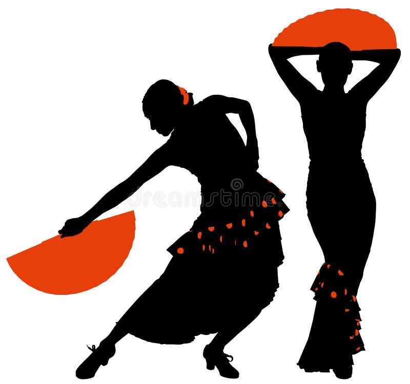 女性佛拉明柯舞曲舞蹈家两个剪影  皇族释放例证