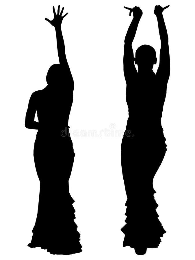 女性佛拉明柯舞曲舞蹈家两个黑剪影  皇族释放例证