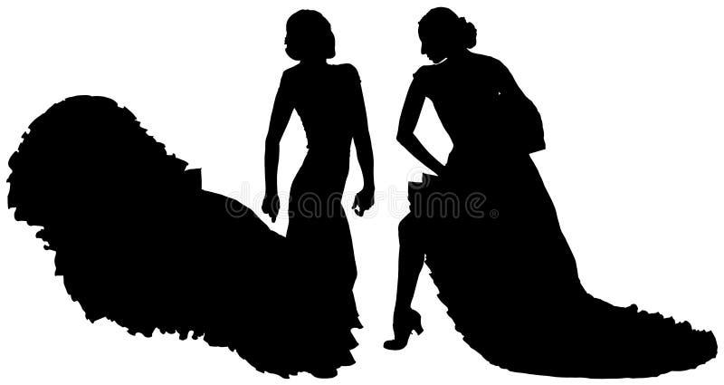 女性佛拉明柯舞曲舞蹈家两个黑剪影  库存例证