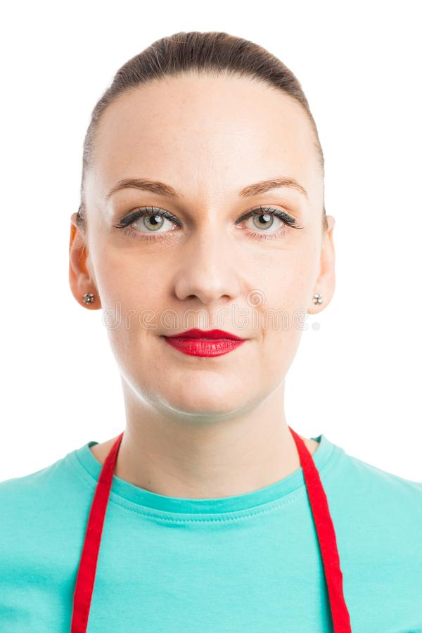 女性侍者或超级市场雇员画象  库存照片