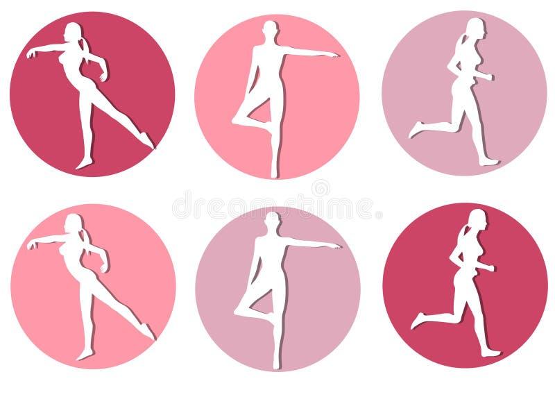 女性健身图标剪影 皇族释放例证