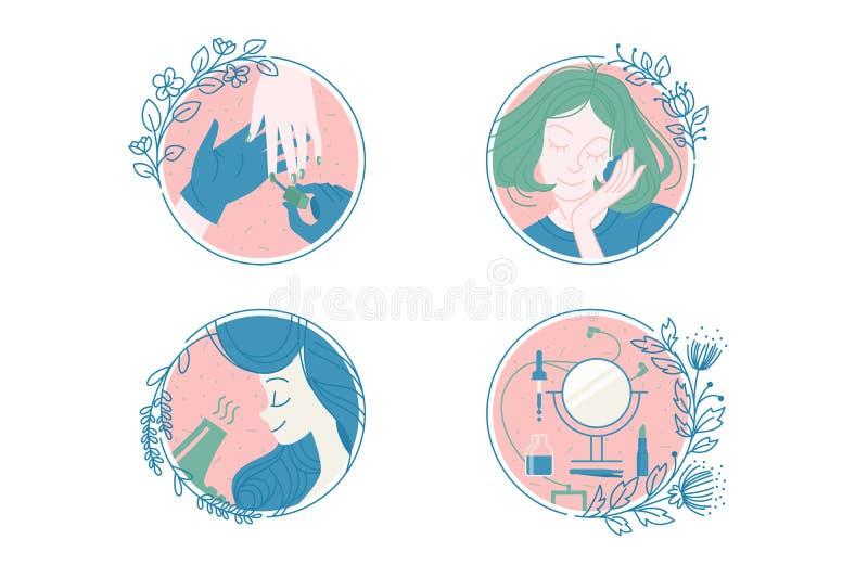 女性关心和温泉象集合 向量例证