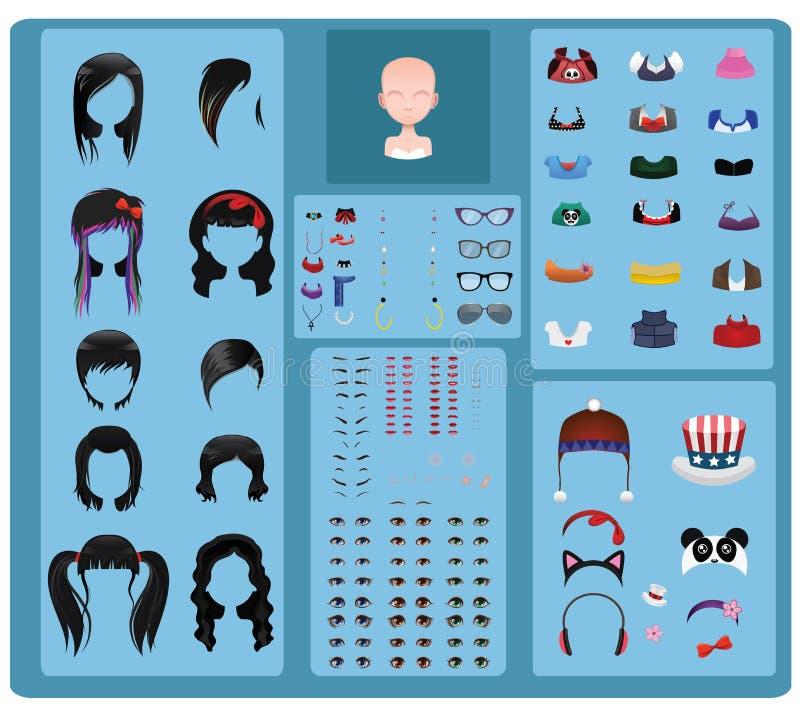 女性具体化制造商-黑发 向量例证