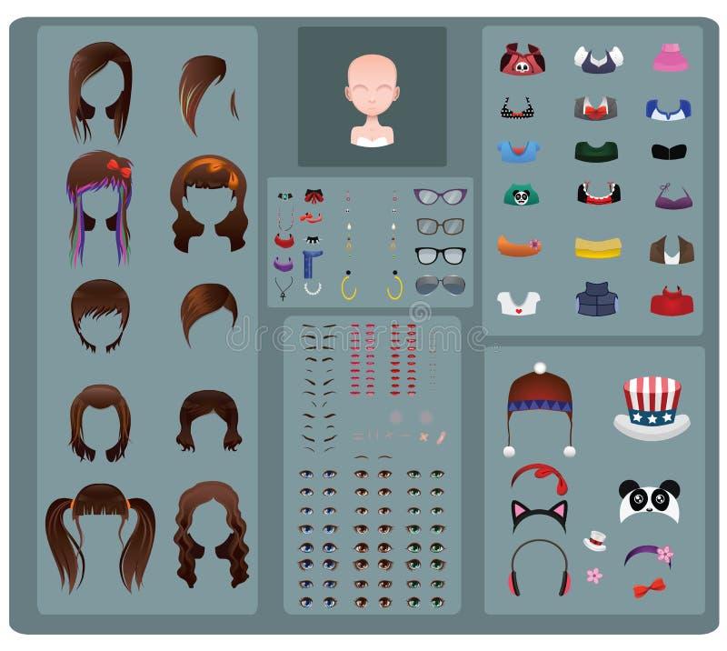 女性具体化制造商-棕色头发 库存例证