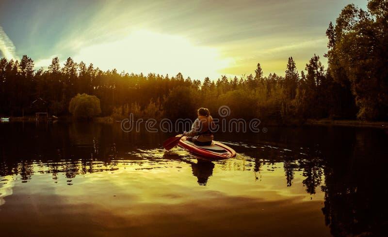 女性划船一艘皮船或一paddleboard在平的顶头湖,蒙大拿 图库摄影