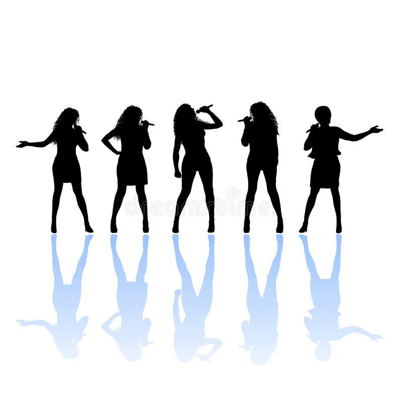 女性剪影歌唱家 向量例证