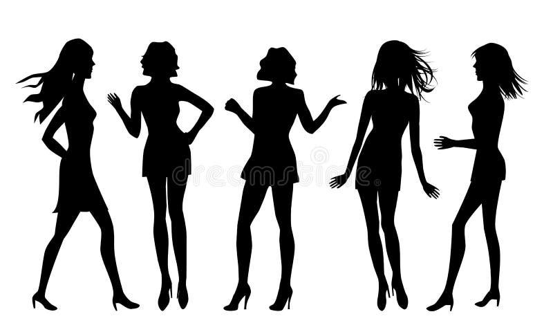 女性剪影 向量例证