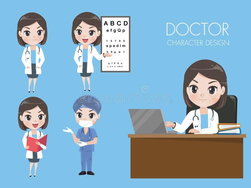 女性医生以在制服的各种各样的姿态 库存例证