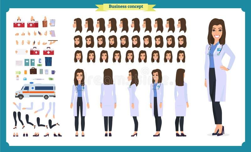 女性医生字符创作集合 前面,边,后面看法给字符赋予生命 医生字符创作设置有各种各样的看法 皇族释放例证