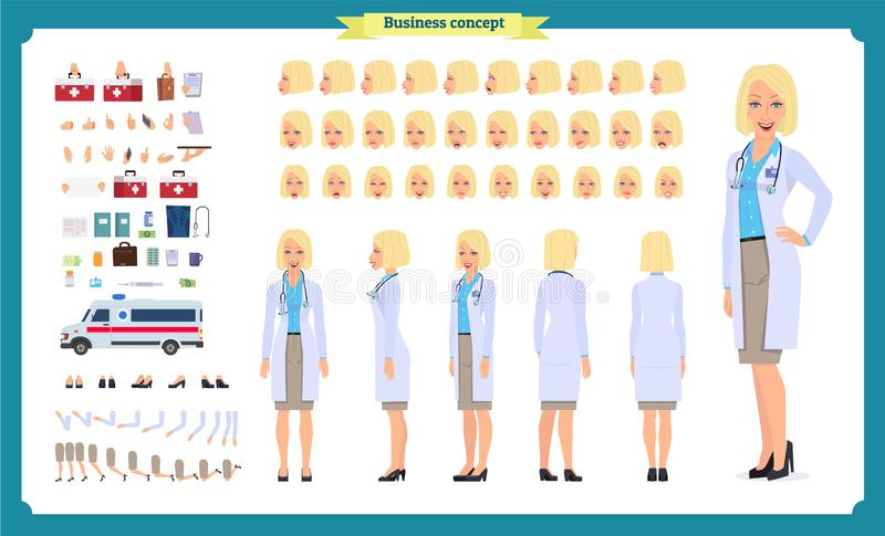 女性医生字符创作集合 前面,边,后面看法给字符赋予生命 医生字符创作设置有各种各样的看法 库存例证