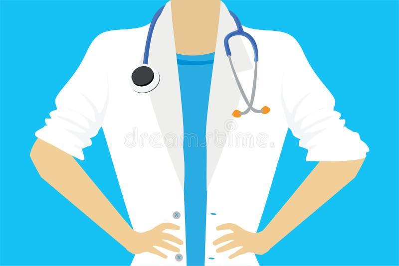 女性医生或护士关闭 库存例证