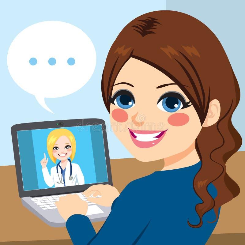 女性医生Online Laptop 向量例证
