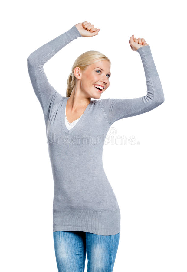 女性半身纵向有拳头的 库存照片