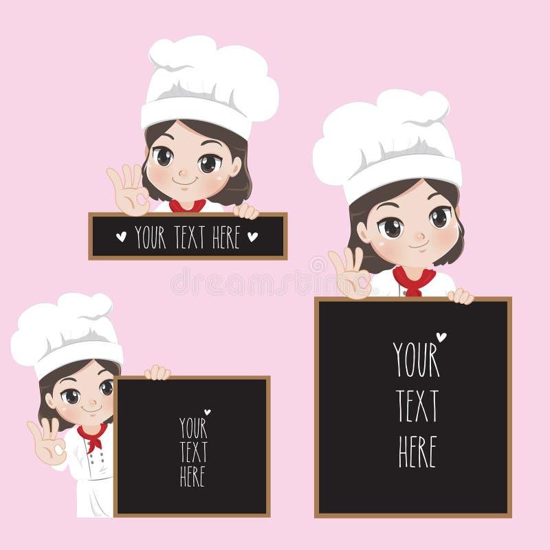 女性厨师拿着标志 向量例证