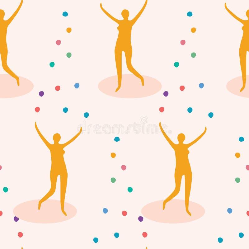 女性变戏法者形象投掷的彩虹颜色球到空气里 r 喜悦,平衡操作的概念, 向量例证
