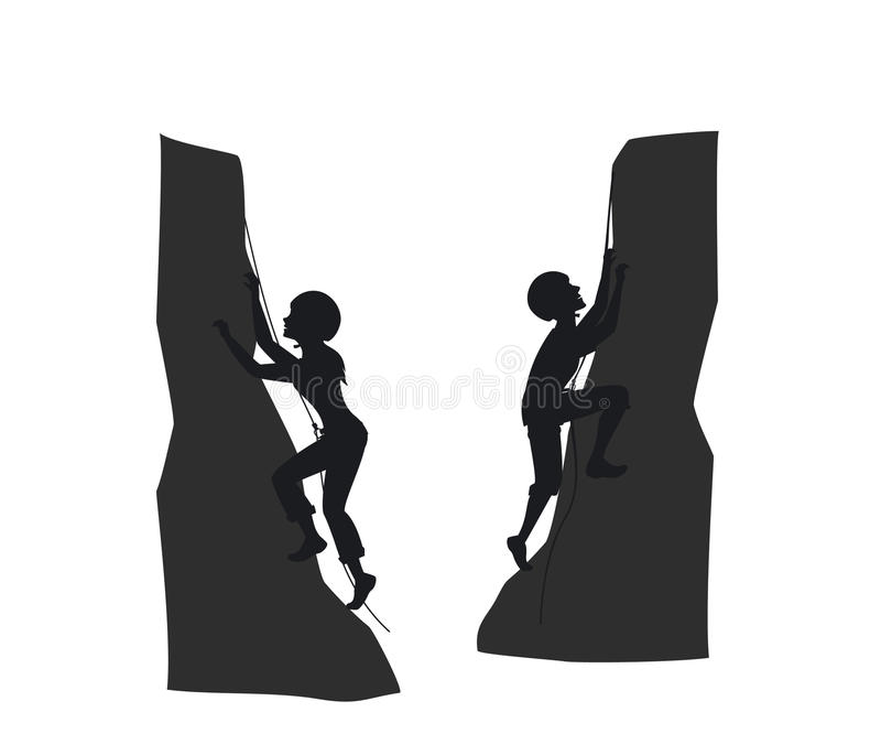 女性和男性山攀岩运动员 库存例证