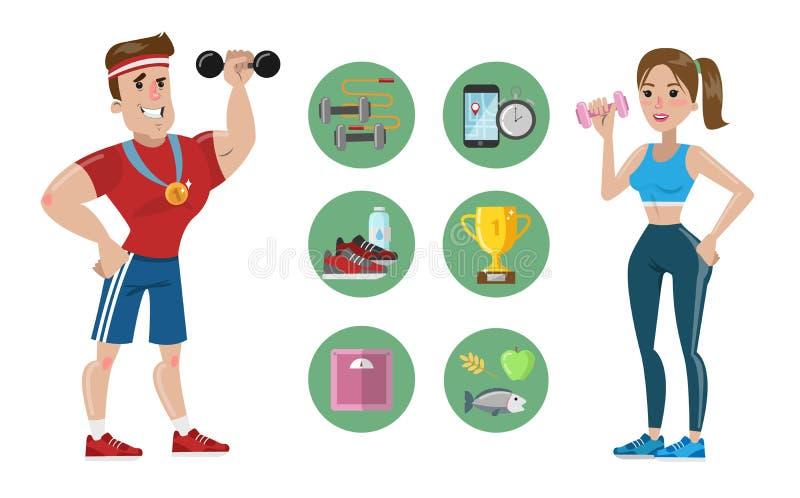 女性和男性教练员 向量例证