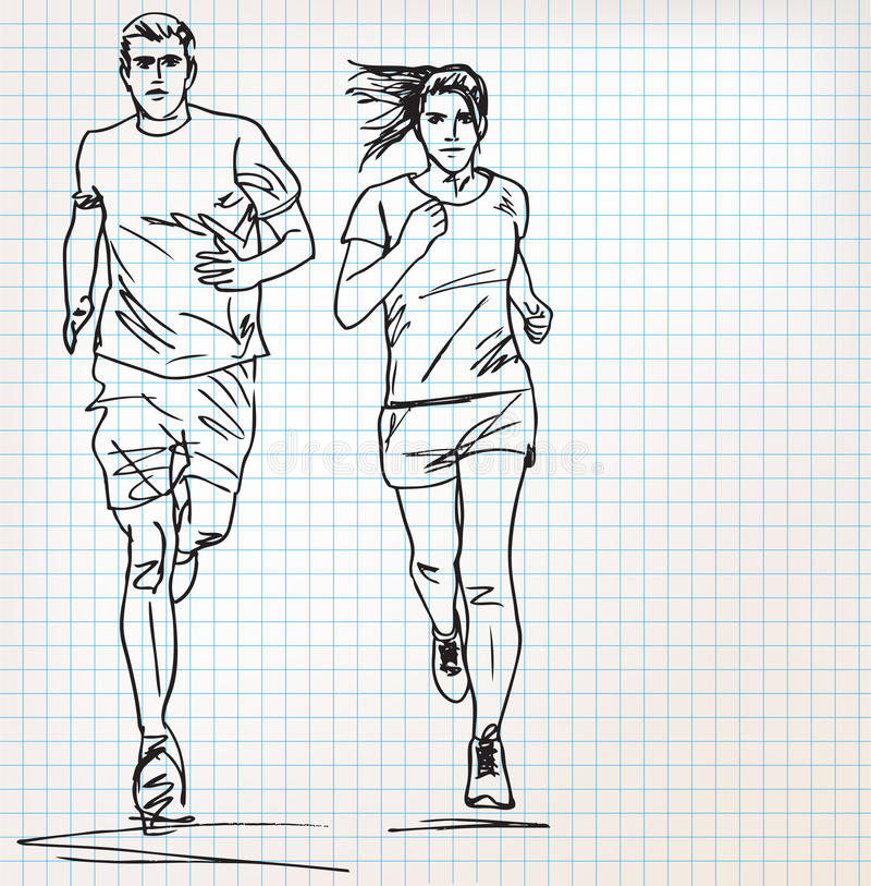 女性和男性赛跑者剪影例证 皇族释放例证