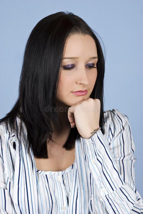 女性哀伤的认为的年轻人 免版税库存照片