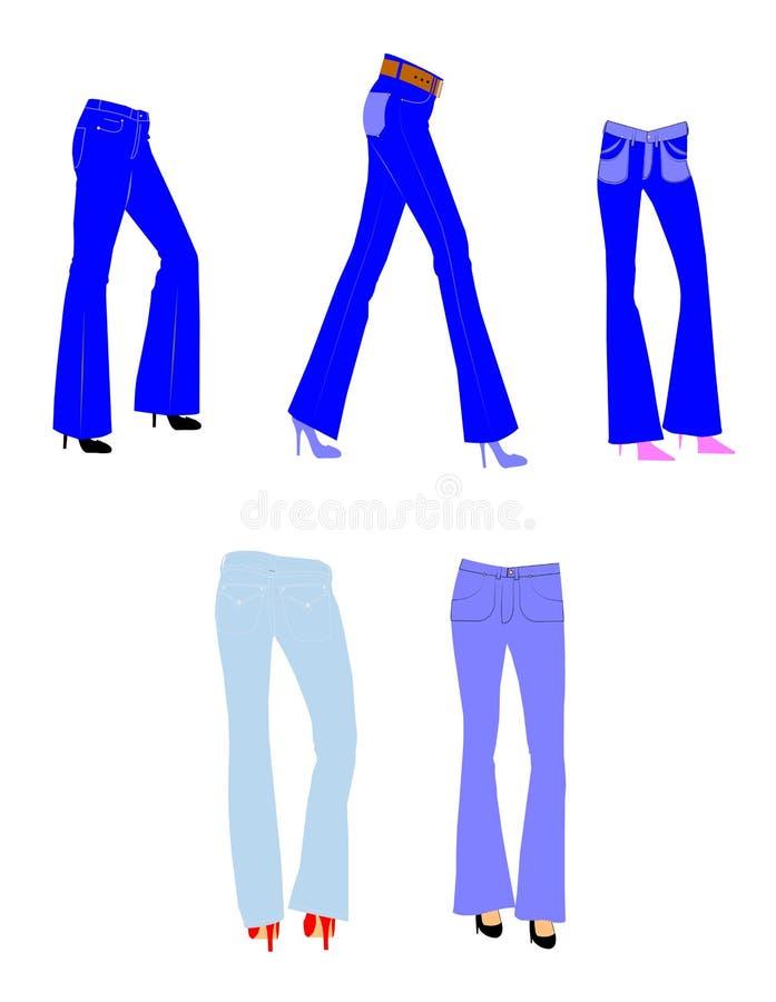 女性响铃底部牛仔裤 向量例证