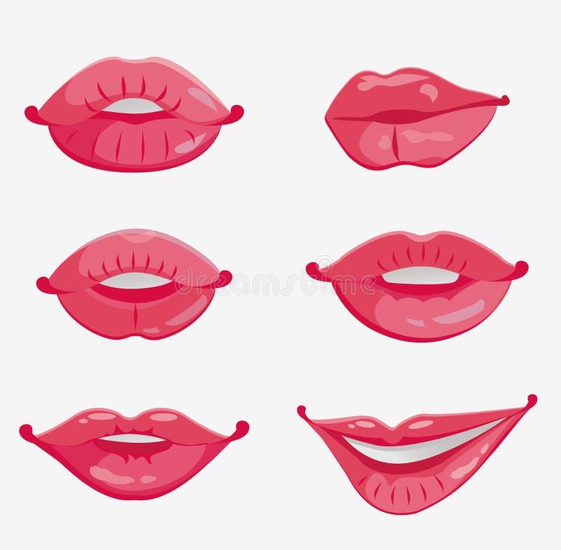 女性嘴唇桃红色性别六 库存例证